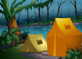 Camping in the jungle — Stock Vector