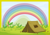 A tent and a rainbow — Stock Vector