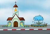 A church and a fountain — Stock Vector