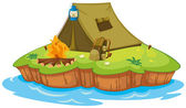 Camping on an island — Stock Vector