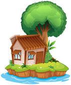 在一个岛上的房子 — 图库矢量图片