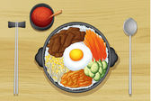 Fried egg with salad in dish — Vector de stock