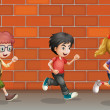Two boys and a girl running — Stock Vector