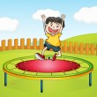 A boy jumping on a trampoline — Stock Vector