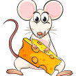 A mouse and cheese — Stock Vector