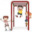 Kids playing with a monkey bars — Stockvektor