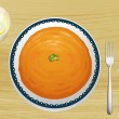 An orange soup on a plate — Stock Vector