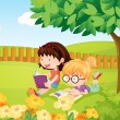 Vector de stock : Girls reading books