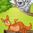 Royalty-Free Stock Vector Image: A kangaroo and koalas