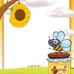 včely a med láhev — Stock vektor