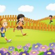 Royalty-Free Stock Vector Image: Kids running on a field
