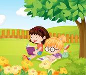 Girls reading books — Stock Vector