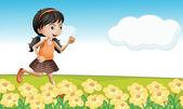 Una chica en un campo de flores — Vector de stock