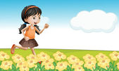 Une fille dans un champ de fleurs — Vecteur