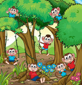 Monkeys in the jungle — Stock Vector
