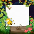 A bee and a white board - Stock Vector