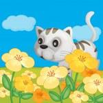 自然の中で座っている猫 — ストックベクタ