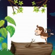 Stock Vector: A monkey and white board in nature