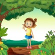 Royalty-Free Stock Vector Image: A girl under tree in nature