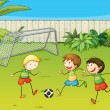 Kids playing football on football ground — Stock Vector
