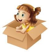 A girl in a box — Stock Vector