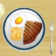 Steak, eggs and fries — Stock Vector