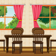 Royalty-Free Stock 矢量图片: A dinning table and chairs