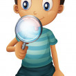 A boy and a magnifier — Stock Vector