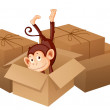 A smiling monkey and boxes — Stock Vector