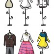 Display of various garments  — Stock Vector