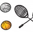 Various balls and rackets — Stock Vector