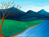 A river and mountains — Stock Vector