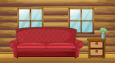 Red sofa and side table in wooden room — Stock Vector