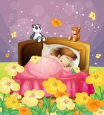 A girl sleeping in her bed — Stock Vector