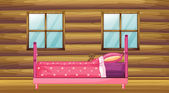 A pink bed in a wooden room — Stock Vector