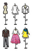 Display of various garments — Vector de stock