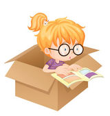 A girl reading book in a box — Stock Vector