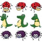A spider, a ladybug and a crocodile — Stock Vector #18035699