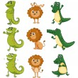 A lion, a chameleon and a crocodile — Stock Vector