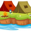 Base camp on an island — Stock Vector