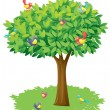A tree and birds — Stock Vector