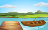 A boat and a landing stage — Stock Vector