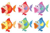 Smiling fishes — Stock Vector