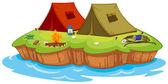 Base camp on an island — Stock Vector