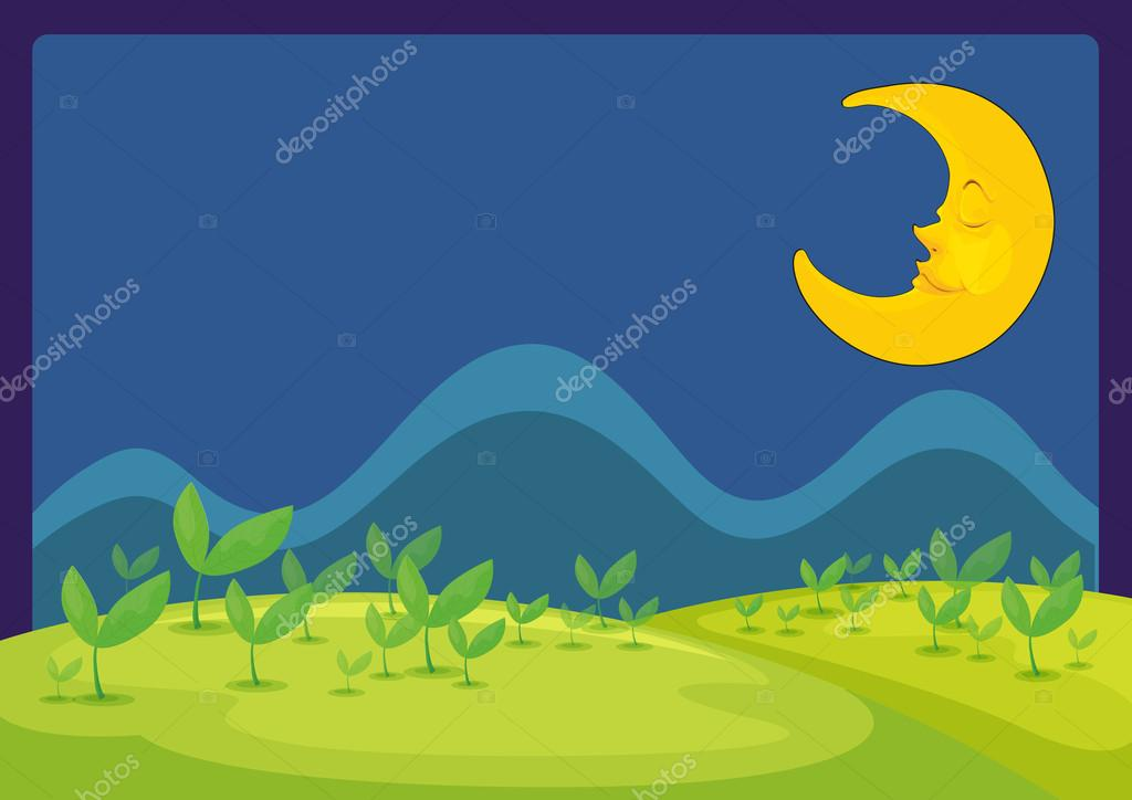 在一个美丽的夜晚的月亮插图