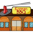 A korean bbq shop - Stock Vector