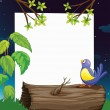 Stock Vector: A bird and a white board