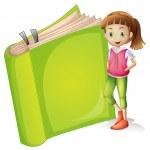 A girl and a book — Stock Vector
