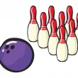 Bowling sport accessories - Stock Vector