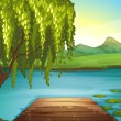 A river and a wooden bench - Stock Vector